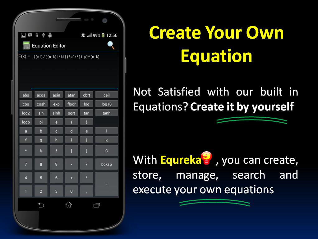 Creare ed eseguire equazioni con la calcolatrice di formule Equreka per Android