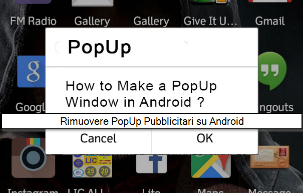 eliminare problema popup Android